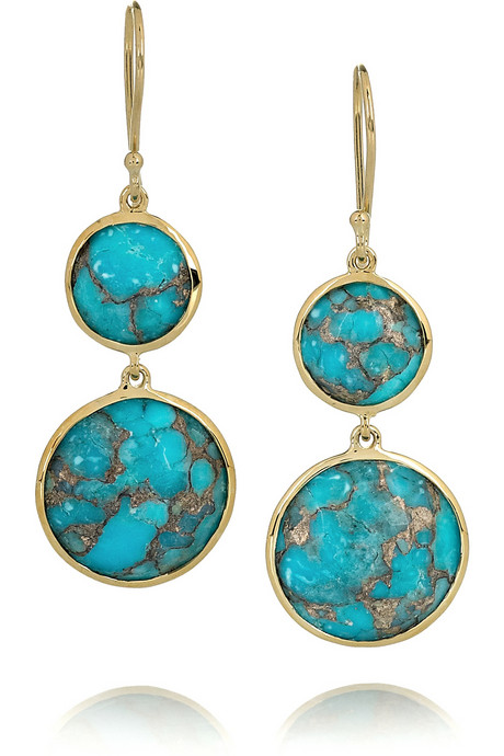 gold bronze turquoise drop