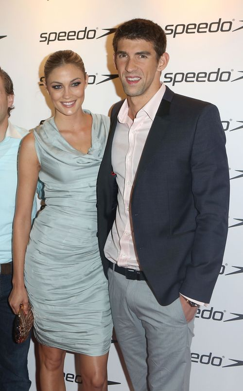 The greatest Olympian of all time Michael Phelps and girlfriend Megan Rossee attend the Speedo Celebration event on Monday, August 6, 2012. Source: Speedo